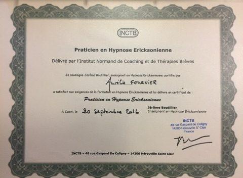 Diplome hypnose Aurelie Fournier Caen Mondeville