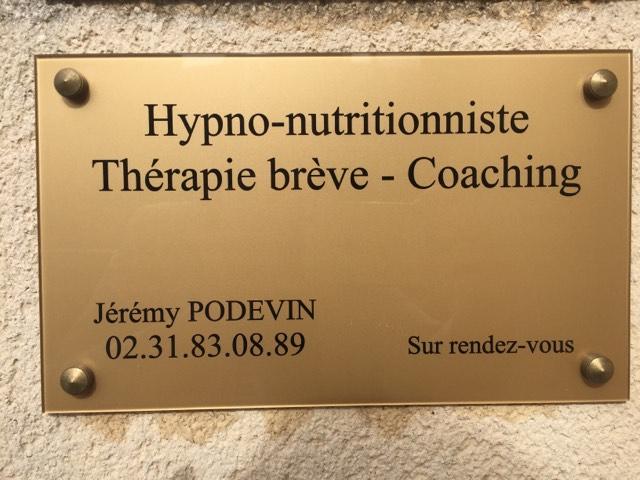 Plaque Jérémy Podevin Hypnose Caen Mondeville